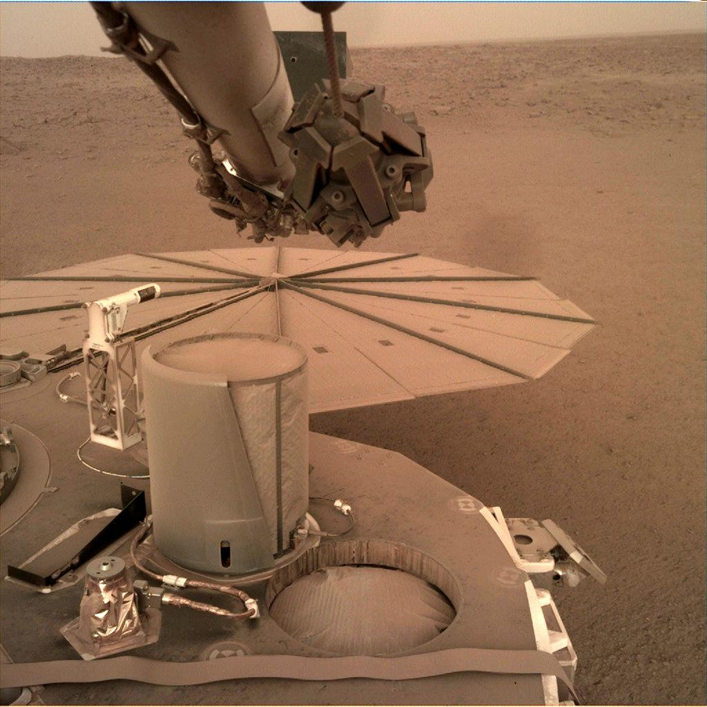 Nasa's Mars lander InSight acquired this image using its Instrument Deployment Camera on Sol 581