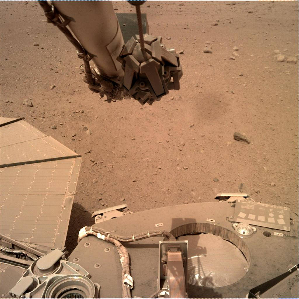 Nasa's Mars lander InSight acquired this image using its Instrument Deployment Camera on Sol 584