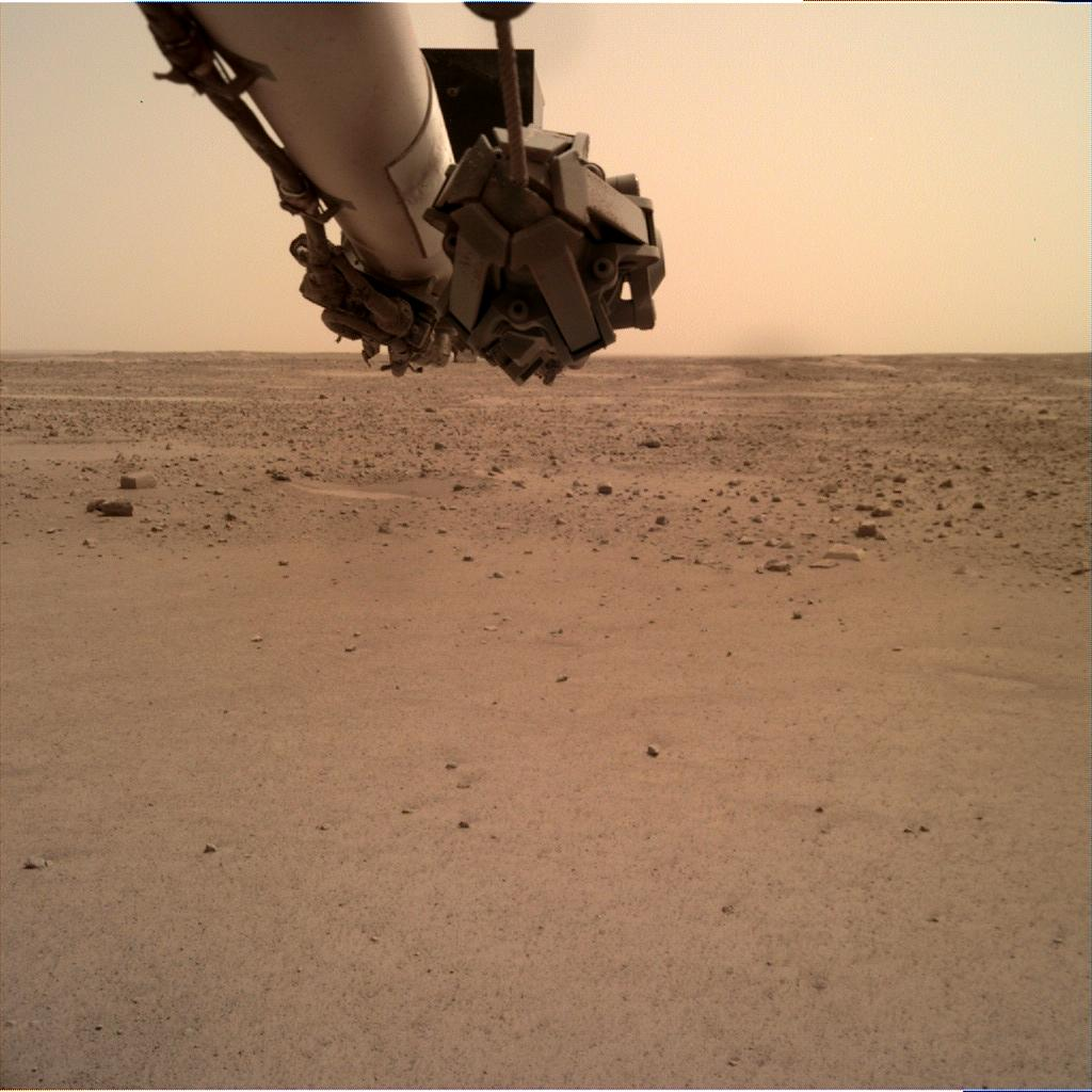 Nasa's Mars lander InSight acquired this image using its Instrument Deployment Camera on Sol 585
