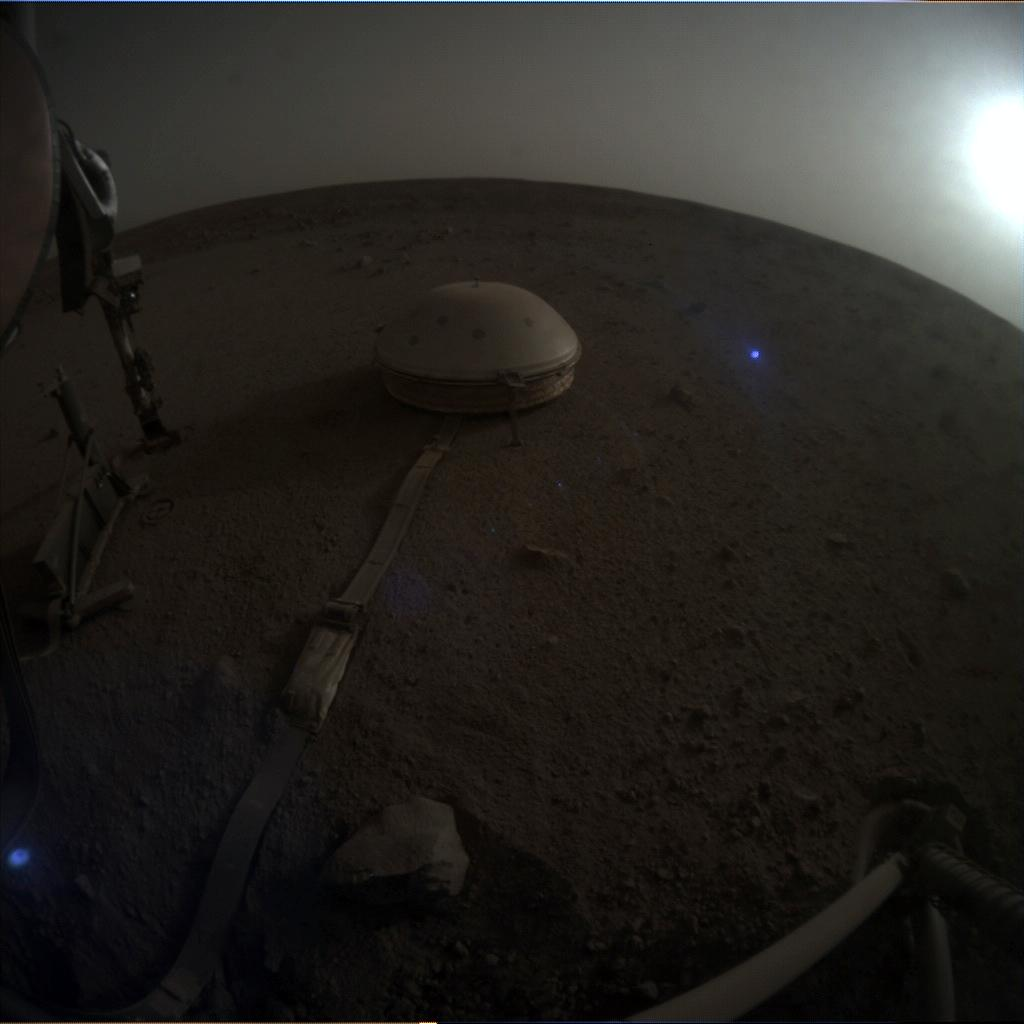 Nasa's Mars lander InSight acquired this image using its Instrument Context Camera on Sol 607