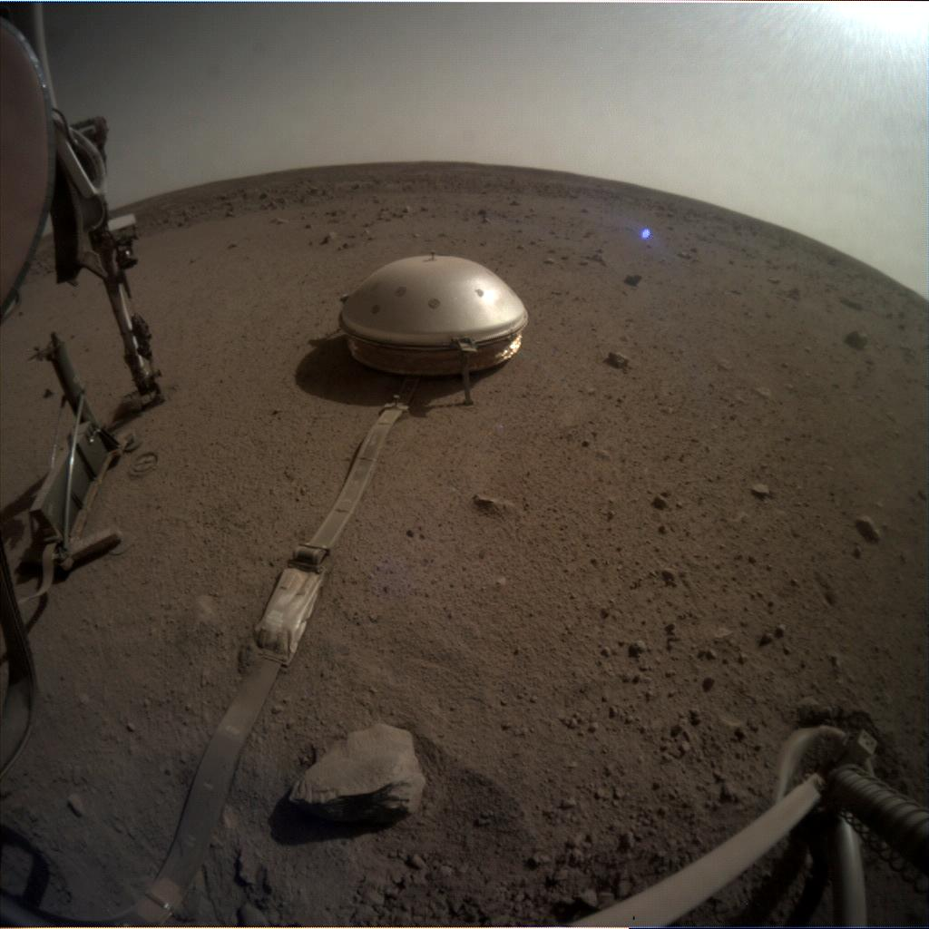 Nasa's Mars lander InSight acquired this image using its Instrument Context Camera on Sol 673