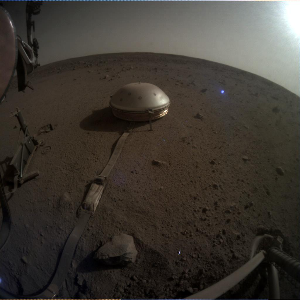 Nasa's Mars lander InSight acquired this image using its Instrument Context Camera on Sol 696