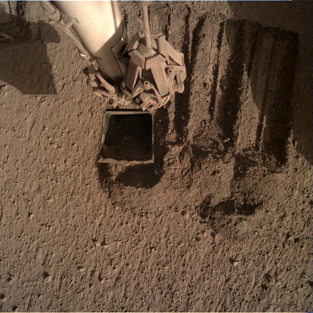 Nasa's Mars lander InSight acquired this image using its Instrument Deployment Camera on Sol 837