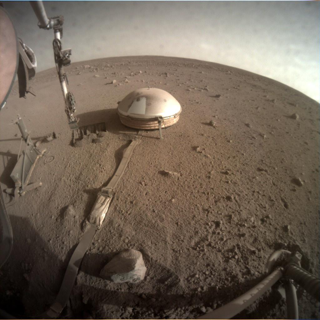 Nasa's Mars lander InSight acquired this image using its Instrument Context Camera on Sol 841