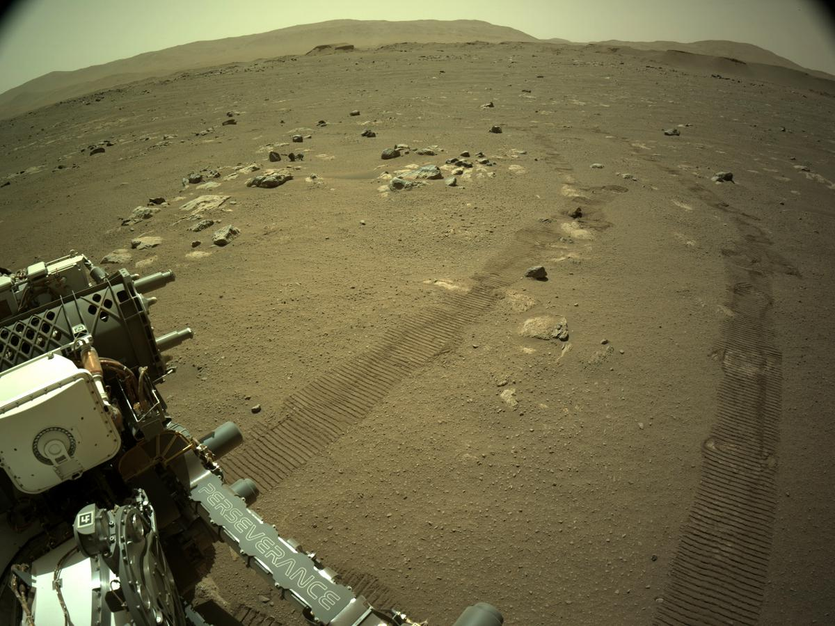 Image taken by Perseverance with rover tracks on Mars