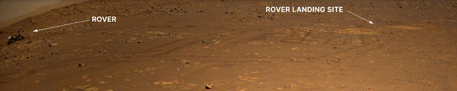 Annotated and zoomed in version of Mars Helicopter imaging the Perseverance Rover