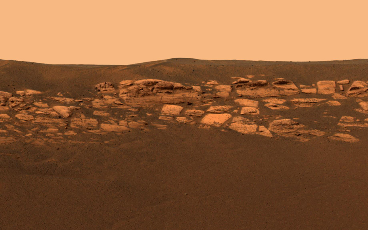 This high-resolution image captured by the Mars Exploration Rover Opportunity's panoramic camera highlights the puzzling rock outcropping that scientists are eagerly planning to investigate.