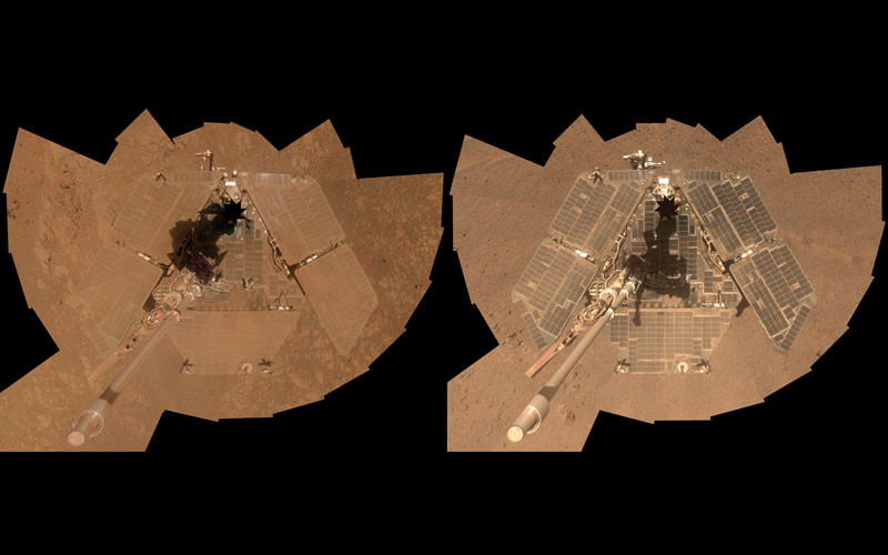 This self-portrait from overhead shows a side-by-side view of the rover solar panels. The solar panels on the left appear brown and dusty, while the solar panels on the right are light gray-green and appear wiped clean of dust.