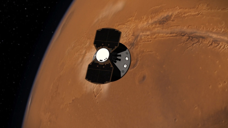 This artist's impression shows InSight traveling to Mars.