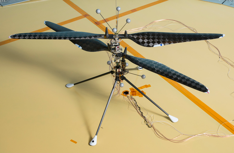Close-up view of Mars Helicopter prototype