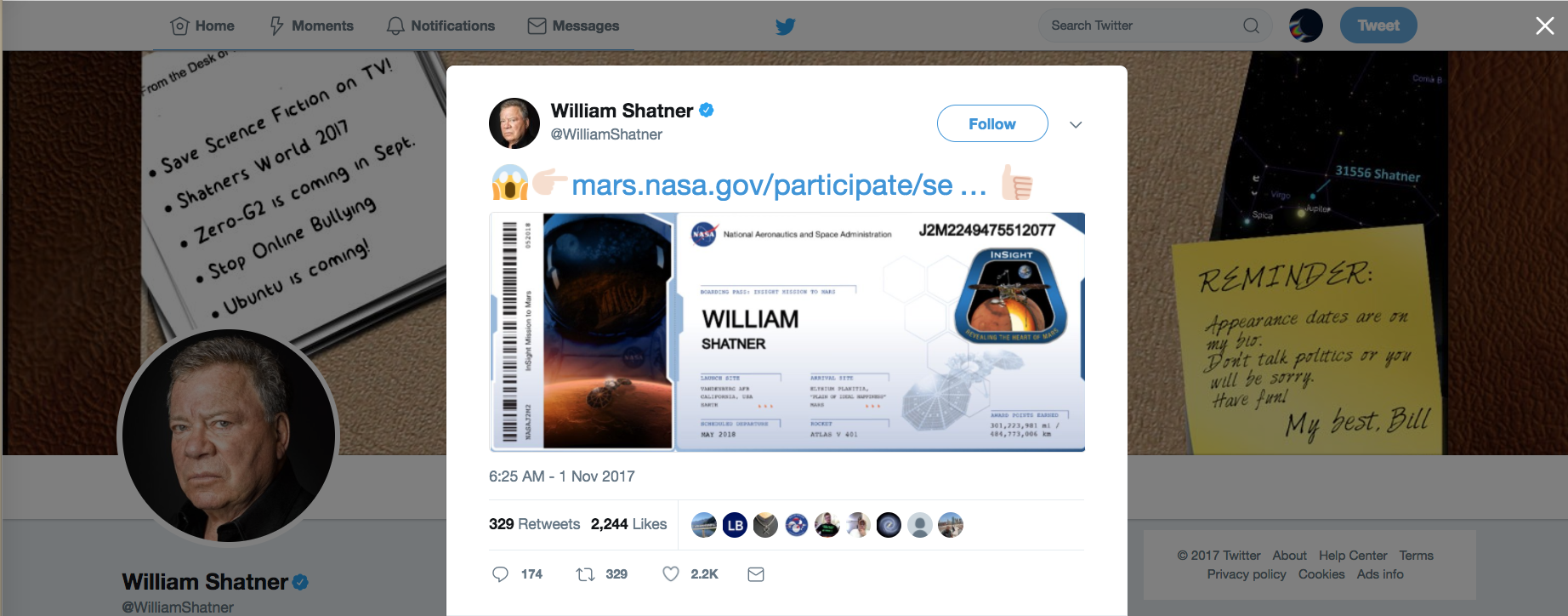 William Shatner Boarding Pass