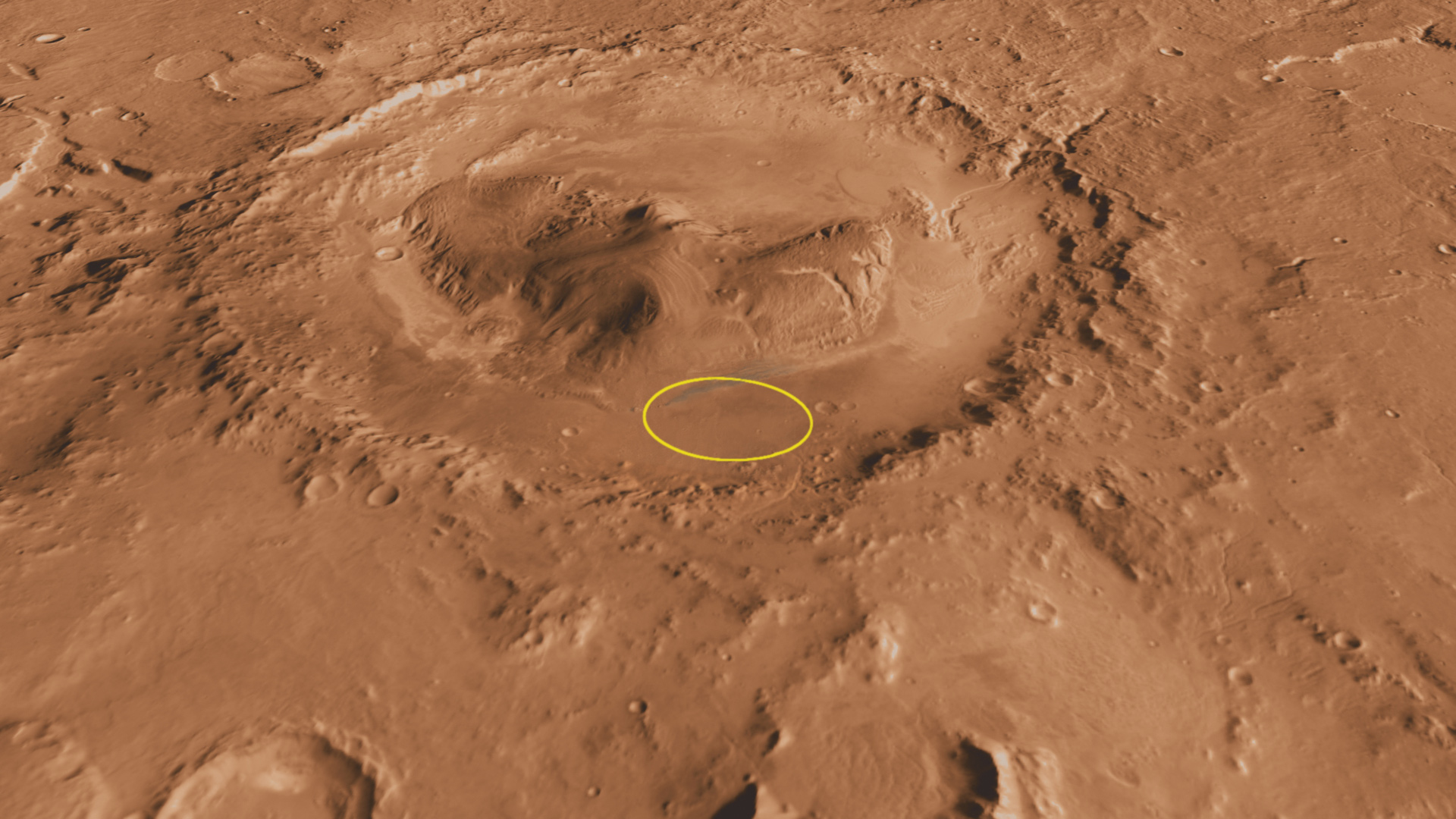 Context of Curiosity Landing Site in Gale Crater, with Ellipse