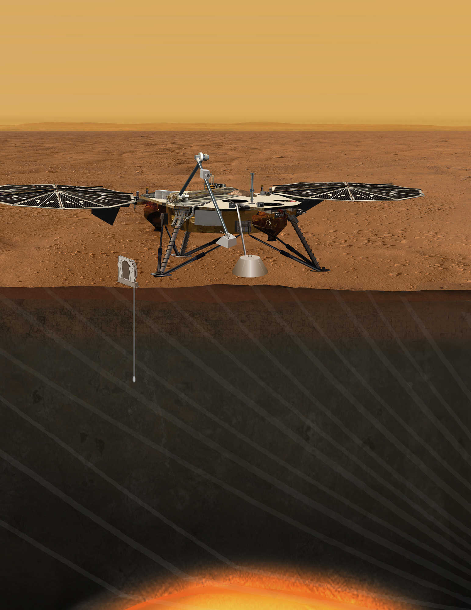 An artist's concept portrays the proposed Geophysical Monitoring Station mission for studying the deep interior of Mars.