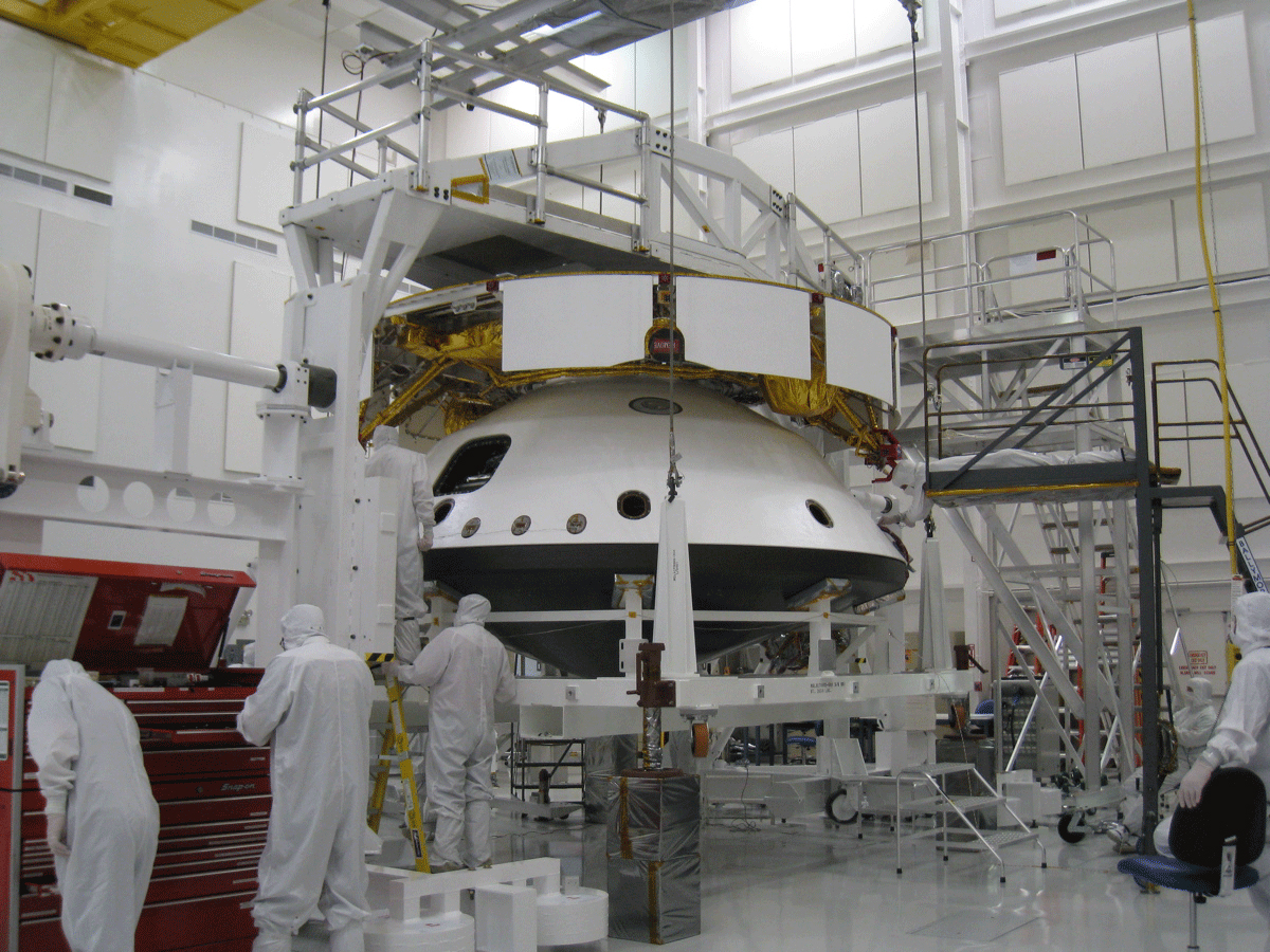 Image of Curiosity Rover's Spacecraft in the Spacecraft Assembly Facility at NASA's Jet Propulsion Laboratory
