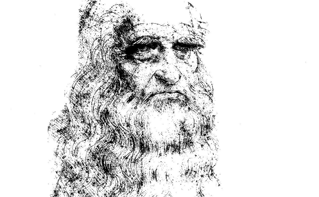Etched Version of Leonardo da Vinci's Self-Portrait On The Microchip