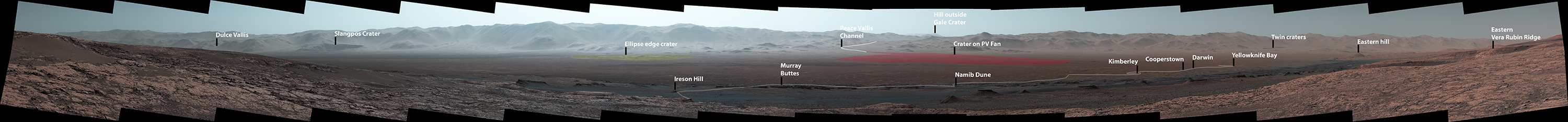 Wide-Angle Panorama from Ridge in Mars' Gale Crater (Labeled)