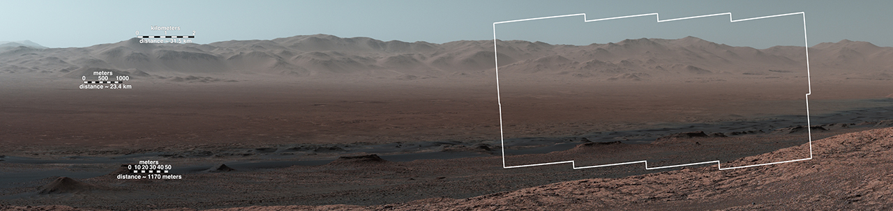 Wide-Angle Panorama from Ridge in Mars' Gale Crater (Scale Bars)