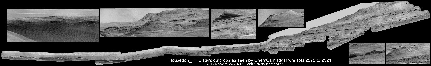 Housedon_Hill ChemCam/RMI mosaic, with selected zooms on areas of interest.