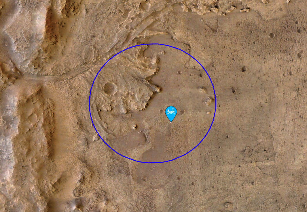 Location Map for Perseverance Rover