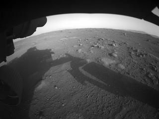 View image taken on Mars, Mars Perseverance Sol 0: Front Left Hazard Avoidance Camera (Hazcam)