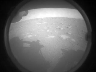 This image was taken by FRONT_HAZCAM_LEFT_A onboard NASA's Mars rover Perseverance on Sol 0