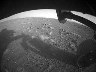 View image taken on Mars, Mars Perseverance Sol 0: Front Right Hazard Avoidance Camera (Hazcam)