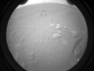 View image taken on Mars, Mars Perseverance Sol 0: Rear Right Hazard Avoidance Camera (Hazcam)