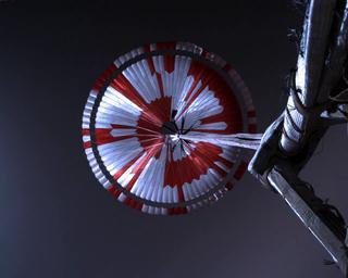 View image taken on Mars, Mars Perseverance Sol 1: Parachute Up-Look Camera B