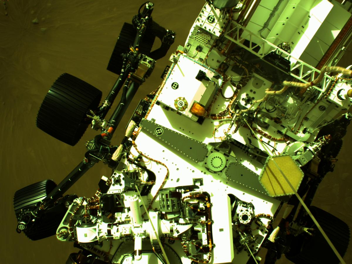 This image was taken by EDL_DDCAM onboard NASA's Mars rover Perseverance on Sol 1