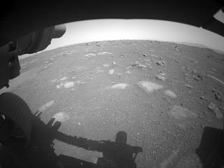 View image taken on Mars, Mars Perseverance Sol 1: Front Left Hazard Avoidance Camera (Hazcam)