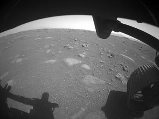 View image taken on Mars, Mars Perseverance Sol 1: Front Right Hazard Avoidance Camera (Hazcam)