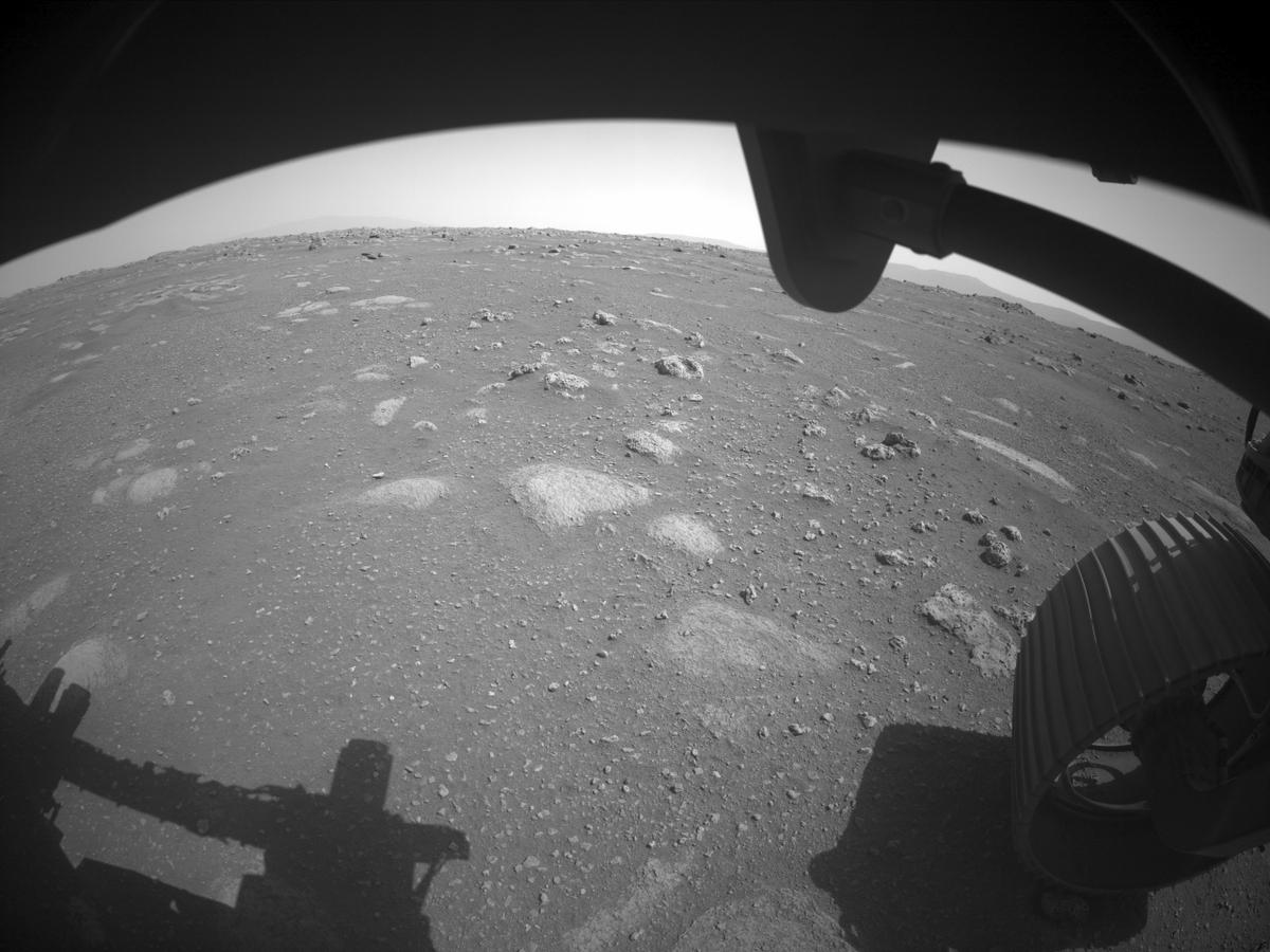 This image was taken by FRONT_HAZCAM_RIGHT_A onboard NASA's Mars rover Perseverance on Sol 1