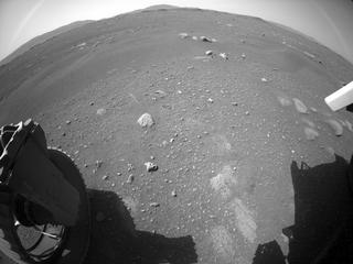 View image taken on Mars, Mars Perseverance Sol 1: Rear Left Hazard Avoidance Camera (Hazcam)