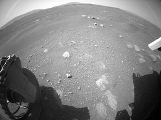 View image taken on Mars, Mars Perseverance Sol 1: Rear Left Hazard Avoidance Camera (Hazcam)