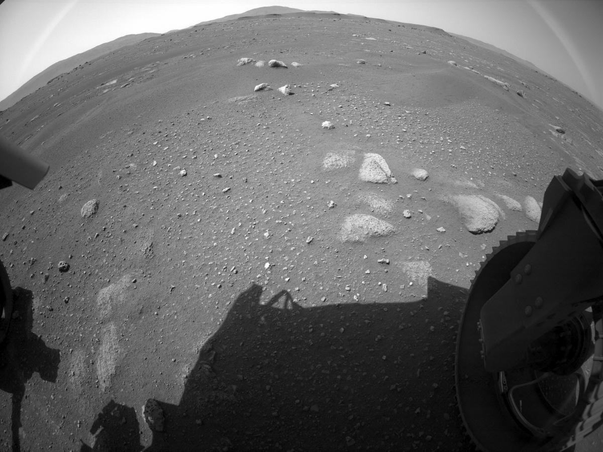 This image was taken by REAR_HAZCAM_RIGHT onboard NASA's Mars rover Perseverance on Sol 1