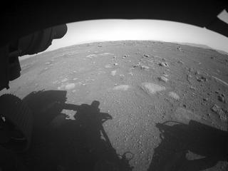 View image taken on Mars, Mars Perseverance Sol 2: Front Left Hazard Avoidance Camera (Hazcam)