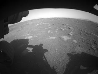View image taken on Mars, Mars Perseverance Sol 2: Front Left Hazard Avoidance Camera (Hazcam)