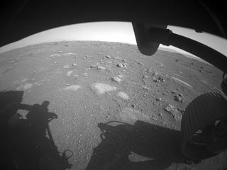 View image taken on Mars, Mars Perseverance Sol 2: Front Right Hazard Avoidance Camera (Hazcam)