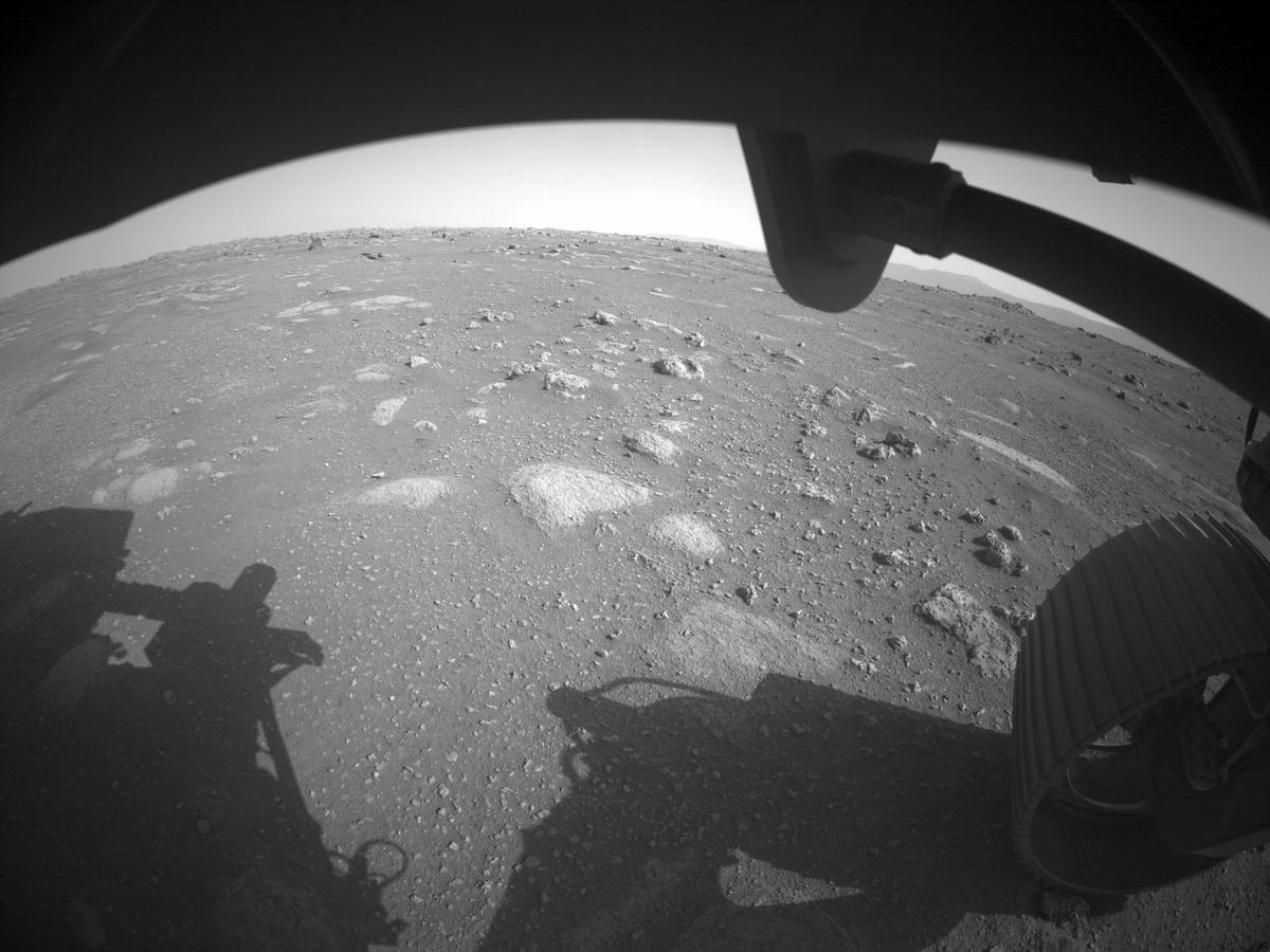 This image was taken by FRONT_HAZCAM_RIGHT_A onboard NASA's Mars rover Perseverance on Sol 2