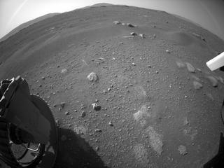 View image taken on Mars, Mars Perseverance Sol 2: Rear Left Hazard Avoidance Camera (Hazcam)