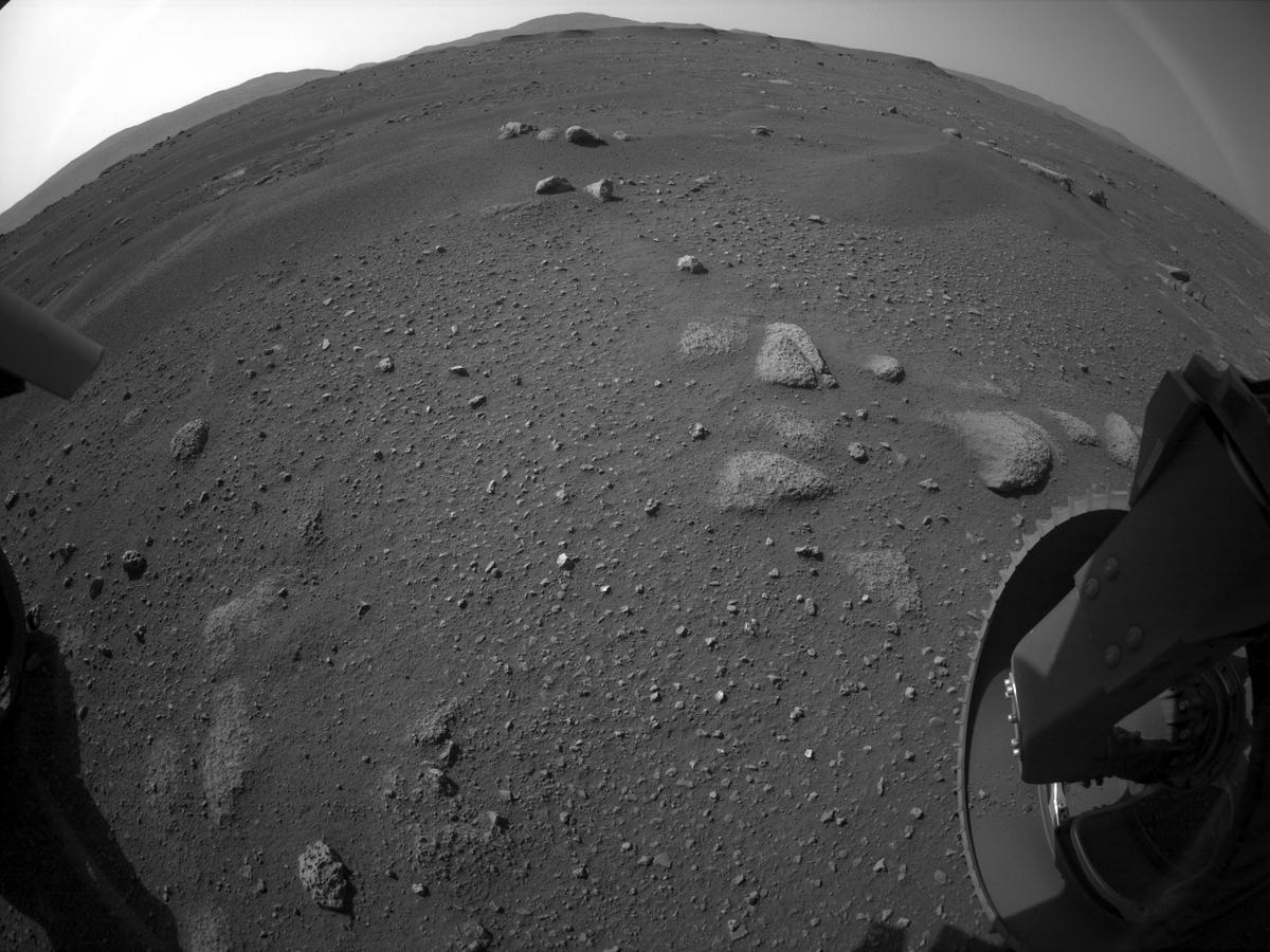 This image was taken by REAR_HAZCAM_RIGHT onboard NASA's Mars rover Perseverance on Sol 2
