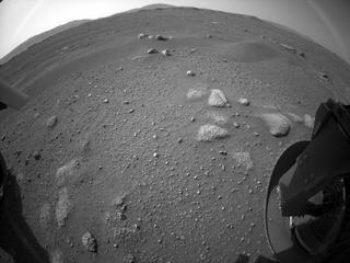 View image taken on Mars, Mars Perseverance Sol 2: Rear Right Hazard Avoidance Camera (Hazcam)
