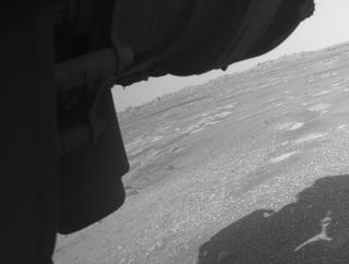 View image taken on Mars, Mars Perseverance Sol 9: Front Left Hazard Avoidance Camera (Hazcam)