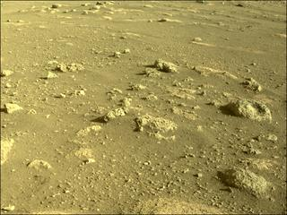 View image taken on Mars, Mars Perseverance Sol 9: Front Left Hazard Avoidance Camera (Hazcam)