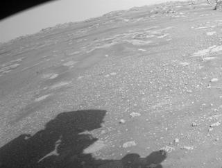View image taken on Mars, Mars Perseverance Sol 9: Front Right Hazard Avoidance Camera (Hazcam)