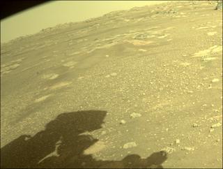 View image taken on Mars, Mars Perseverance Sol 9: Front Right Hazard Avoidance Camera (Hazcam)