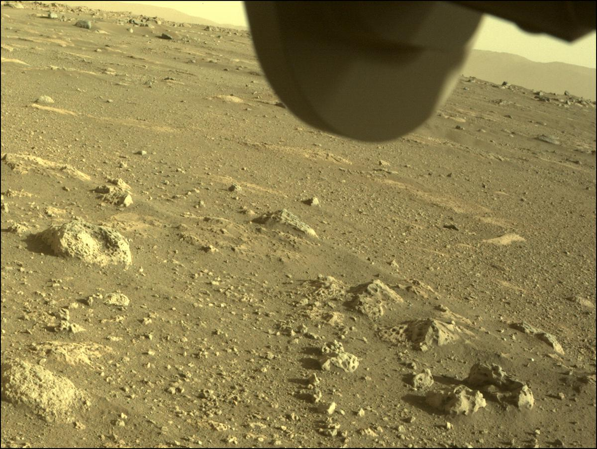 This image was taken by FRONT_HAZCAM_RIGHT_A onboard NASA's Mars rover Perseverance on Sol 9