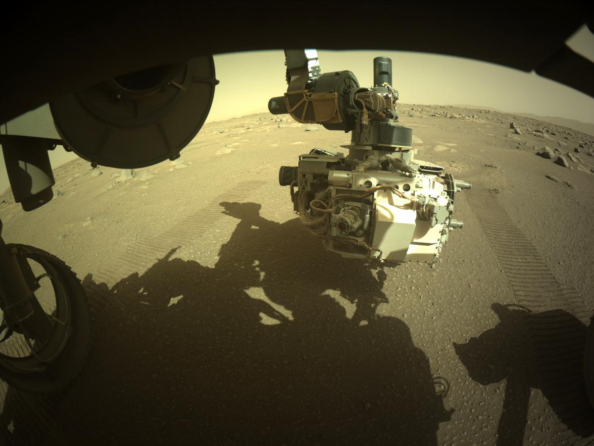 This image was taken by FRONT_HAZCAM_LEFT_A onboard NASA's Mars rover Perseverance on Sol 30