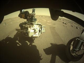 View image taken on Mars, Mars Perseverance Sol 30: Front Right Hazard Avoidance Camera (Hazcam)