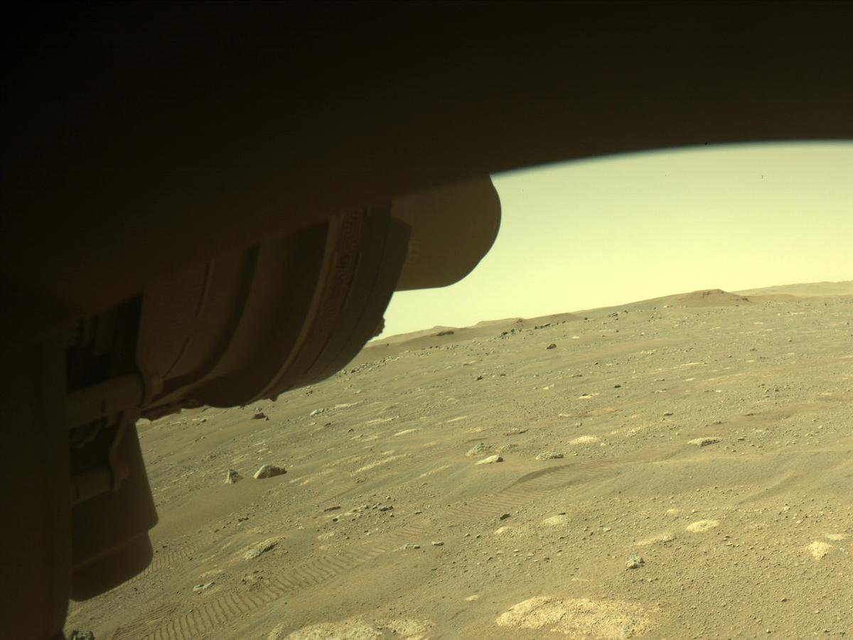 This image was taken by FRONT_HAZCAM_LEFT_A onboard NASA's Mars rover Perseverance on Sol 43